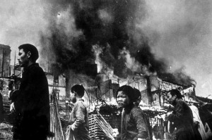 Chinese refugees in Chungking, wrecked capital of the Nationalists.