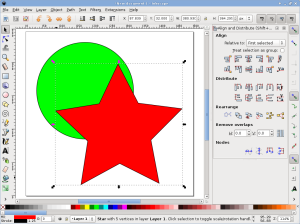 Inkscape object alignment and distribution controls.