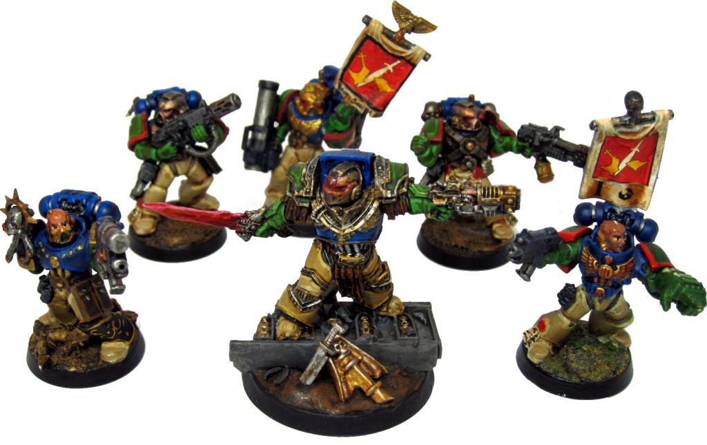 Captain Angholan with Sergeant Harbinger (left), First Sergeant Scolirus (right), and various Kingbreakers from Tactical 1.