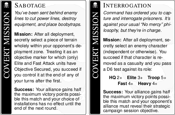 Two sample covert missions.