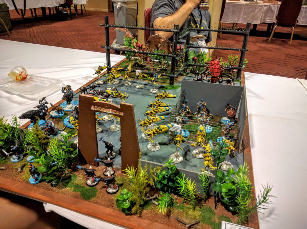 A display board themed around a Jurassic Park of Tyranids.