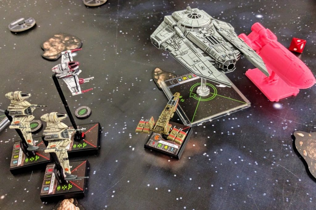 A Decimator shields a VIP Shuttle from Rebel scum attackers.