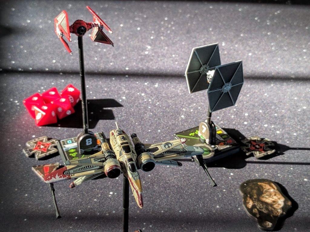 Shara Bey's ARC-170 tailgunner fights to keep off Carnor Jax in his TIE Interceptor.
