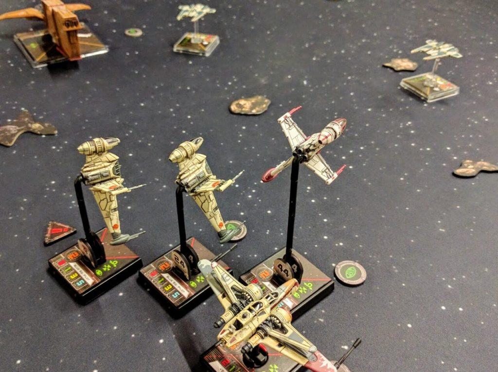 Shara Bey guides a formation of B-Wings toward obliterating Fenn Rau.